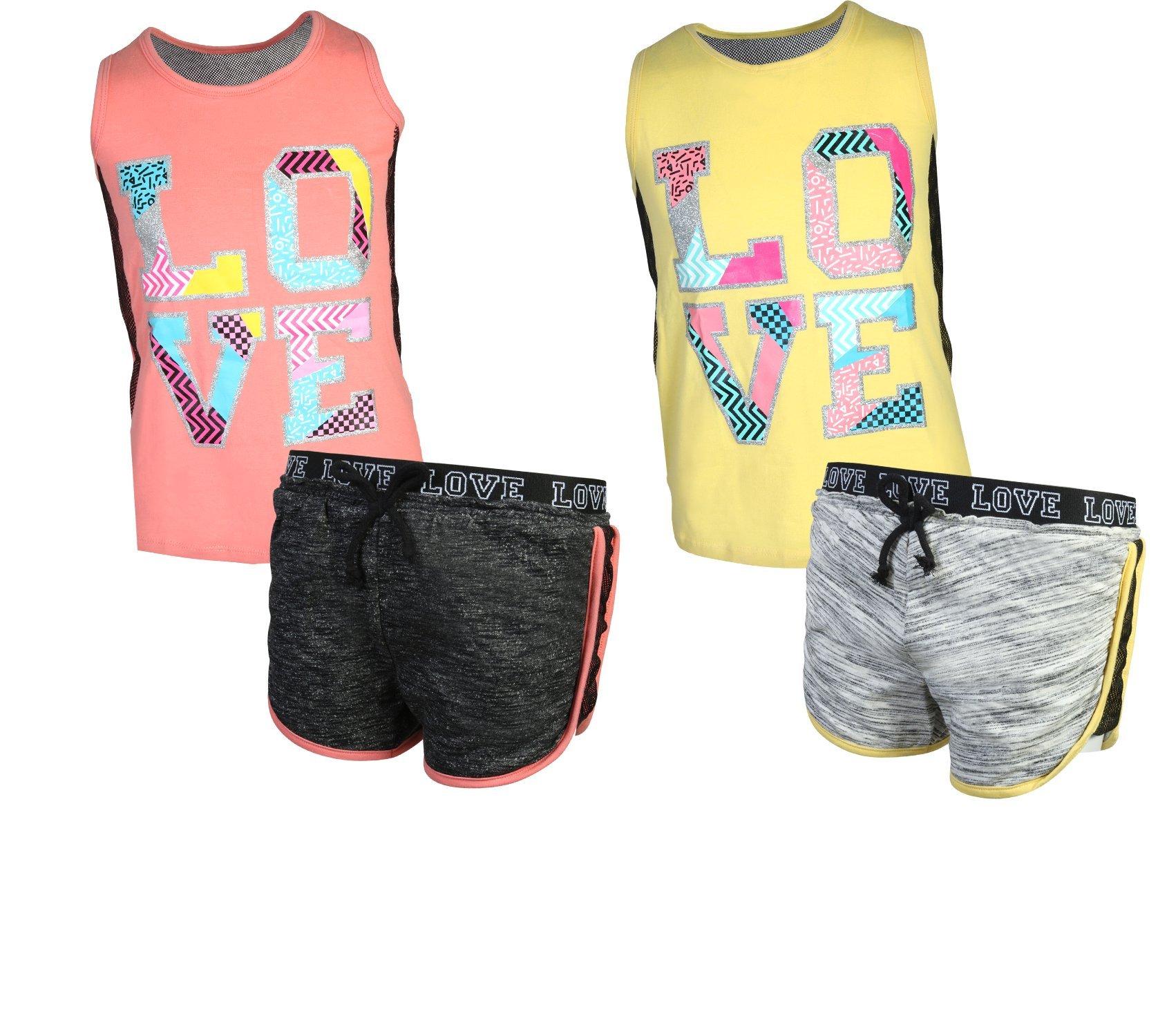 'Girl's 4-Piece Fashion Active Short Sets, Love, Size 7/8'