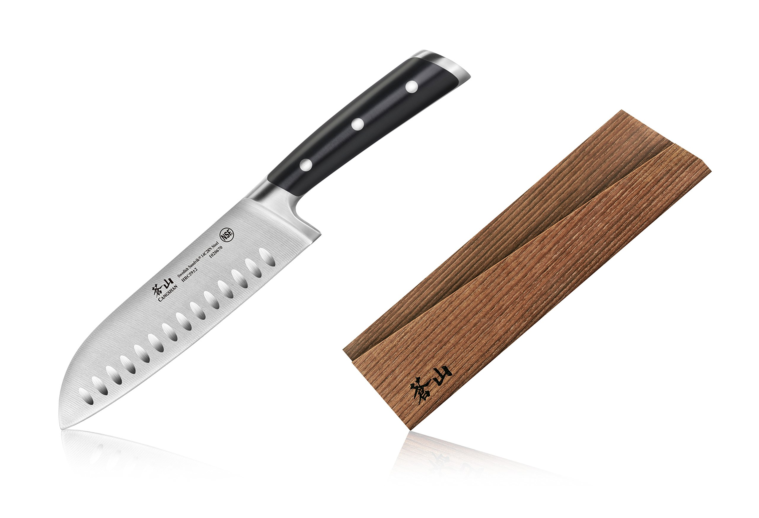 Cangshan TS Series 1020687 Swedish Sandvik 14C28N Steel Forged 7-Inch Santoku Knife and Wood Sheath Set