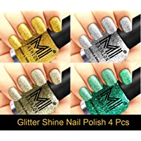 MI Fashion Platinum Collection 12 ml each Set of 4 Glitter High Shine Long Lasting Nail Polish Colors at Your Fingertips(Golden Gold,Silver,Silver Gold,Sky Blue)