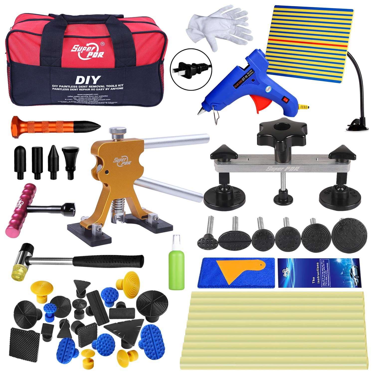 Super PDR Dent Puller Kit, PDR Tools 52Pcs Dent Remover for Car Body Dent Repair Kit