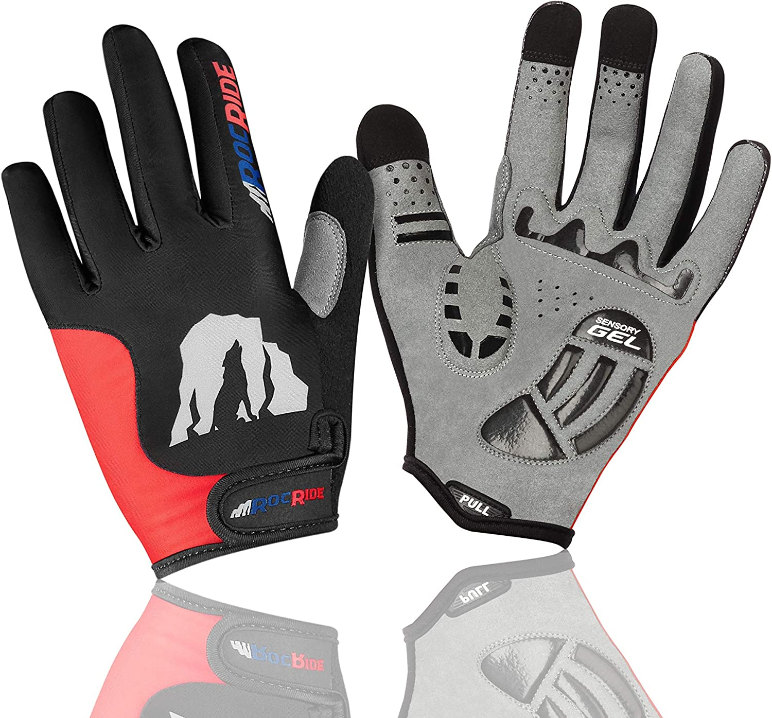 RocRide Cycling Gloves with Gel Padded Protection Full Finger with Screen Compatible Tips Men Women and Children Sizes. Road and Mountain Biking