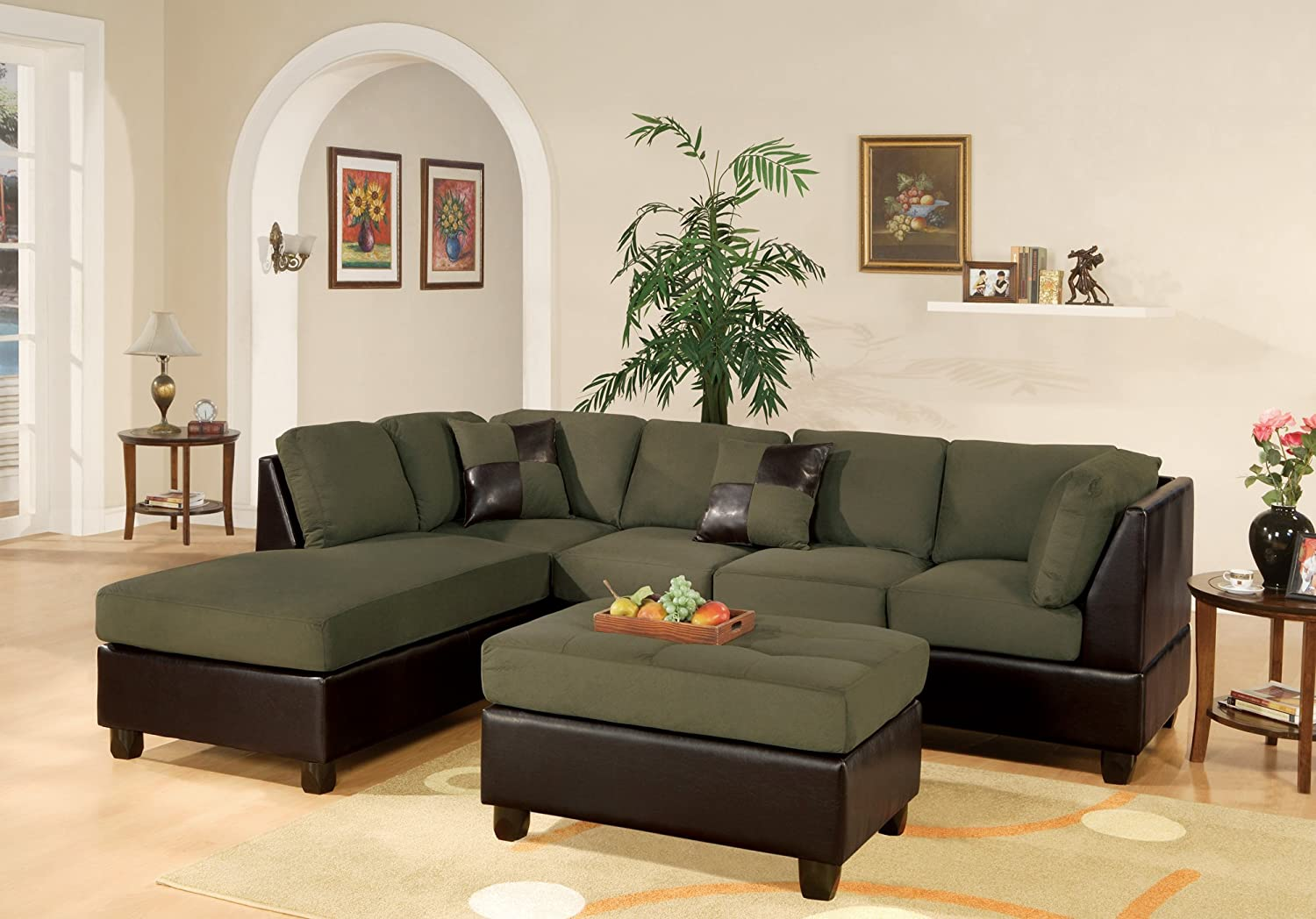 poundex product polyfiber contemporary chaise sectionals sofa leather couch peridot bobkona reversible hot sectional