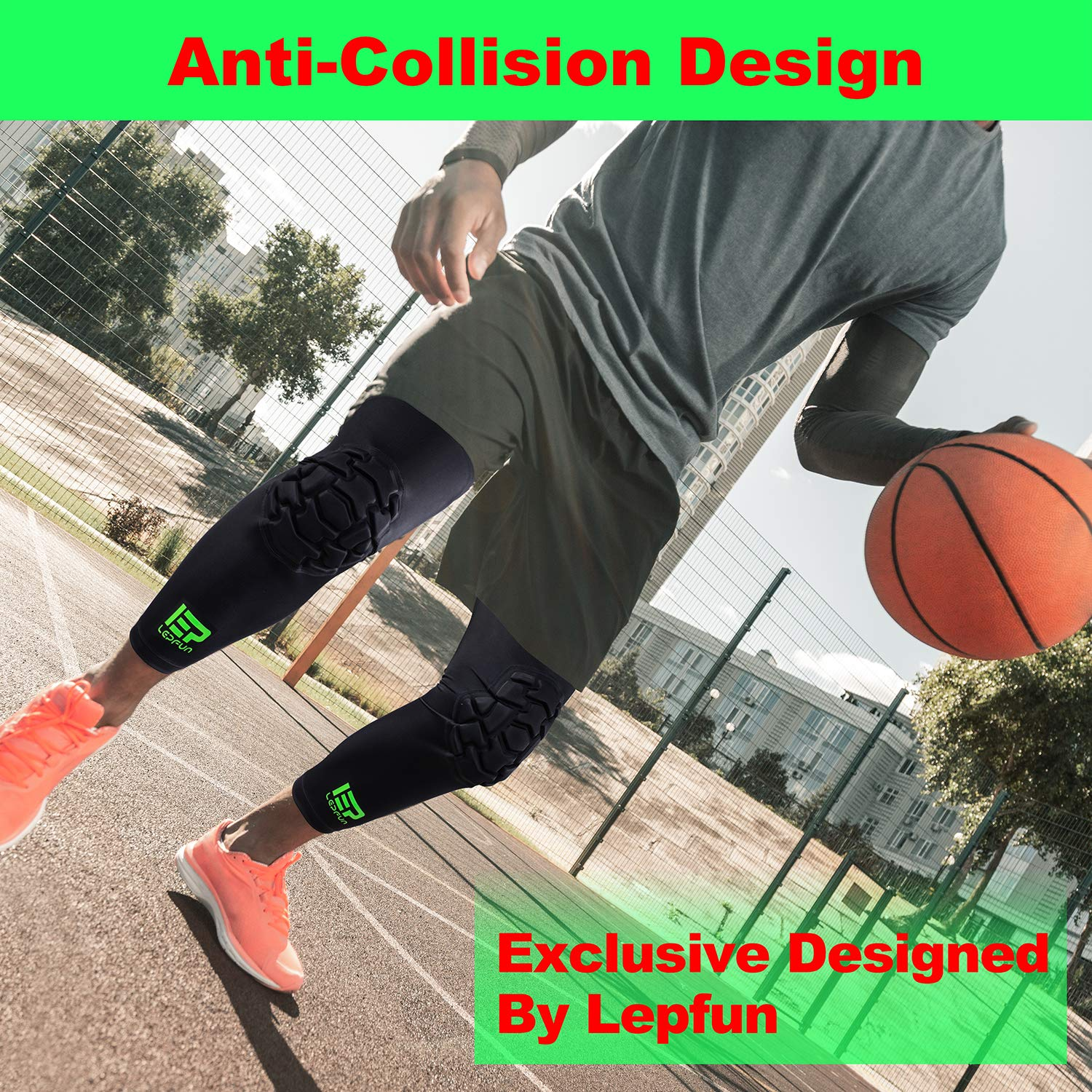 Lepfun A7000 Pro Crashproof Basketball Knee Pads with Antislip Support ,(1 Pair)Kids Adult Leg Sleeve Protector Gear