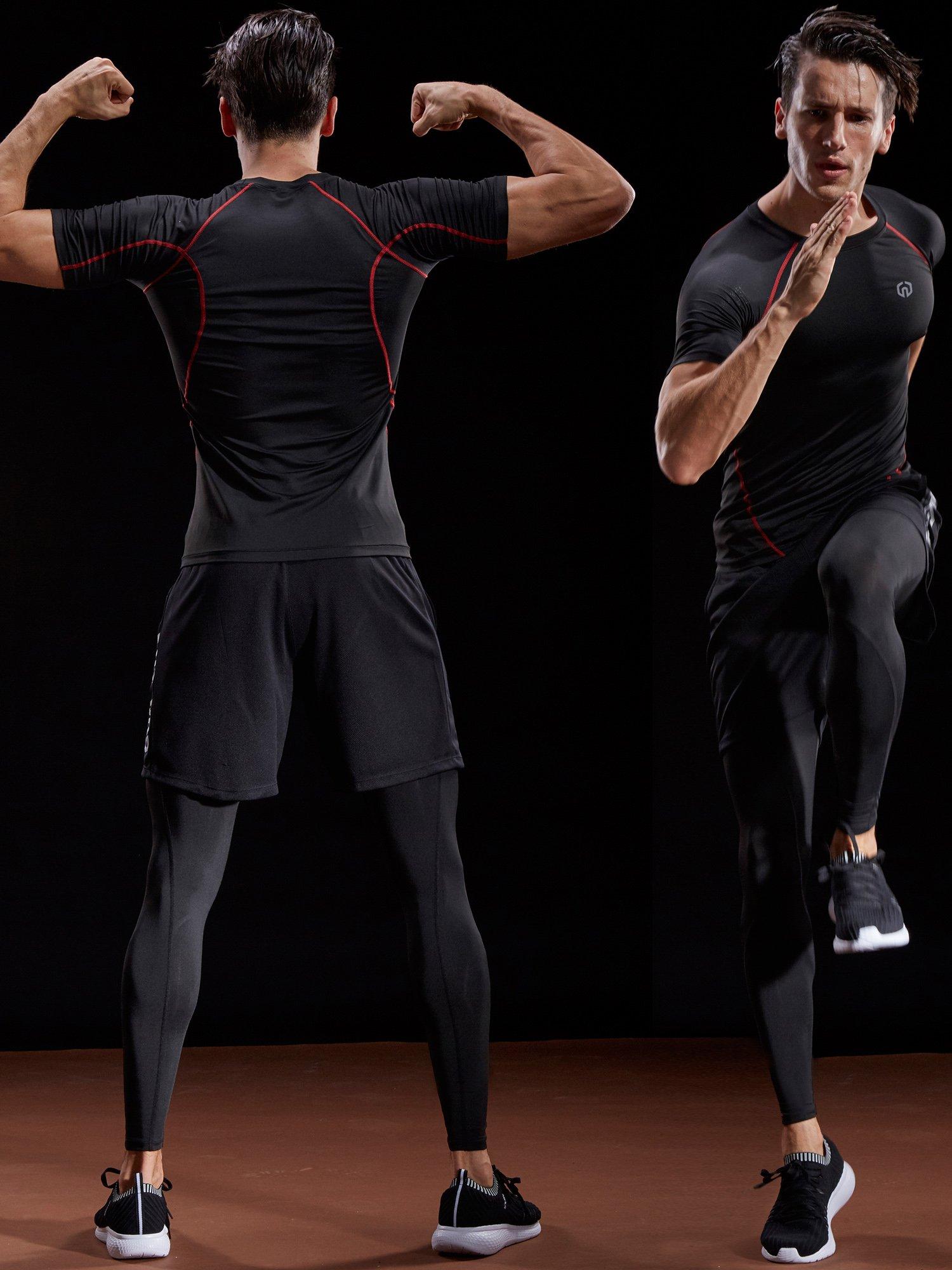 Neleus Men's Compression Baselayer Athletic Workout T Shirts,5022,One Piece,Black(red Striped),US S,EU M by Neleus (Image #3)