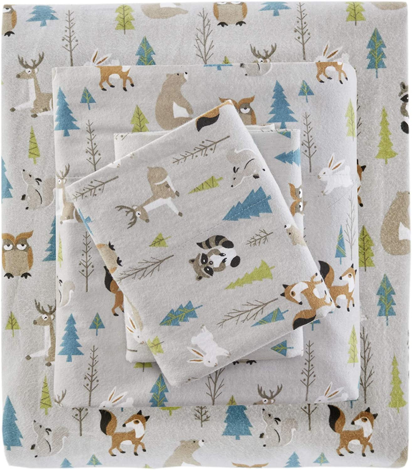 True North by Sleep Philosophy Cozy Flannel 100% Cotton Ultra Soft Cold Weather Sheet Set Bedding, Twin, Multi Forest Animals 3 Piece