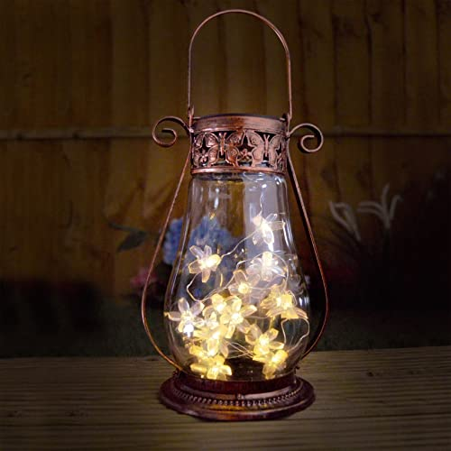 Solar Copper Garden Lantern With Fairy Lights For Tabletop Or Hanging - Outdoor Metal Lamp