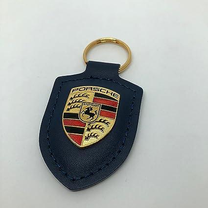 Porsche Crest Llavero de Cuero Azul WAP0500950E: Amazon.es ...