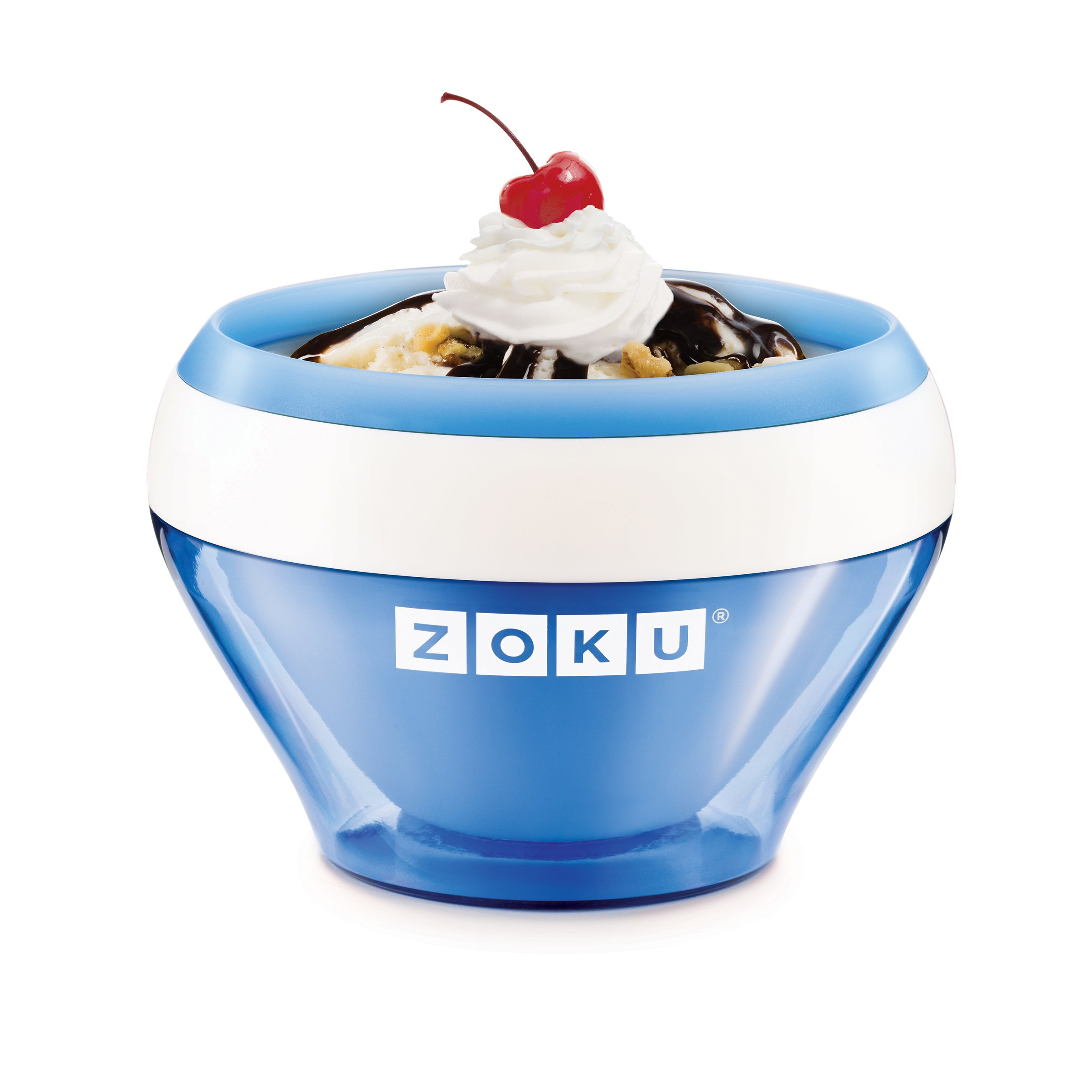 Zoku Ice Cream Maker, Compact Make and Serve Bowl with Stainless Steel Freezer Core Creates Soft Serve, Frozen Yogurt, Ice Cream and More in Minutes, BPA-free, 6 Colors, Blue