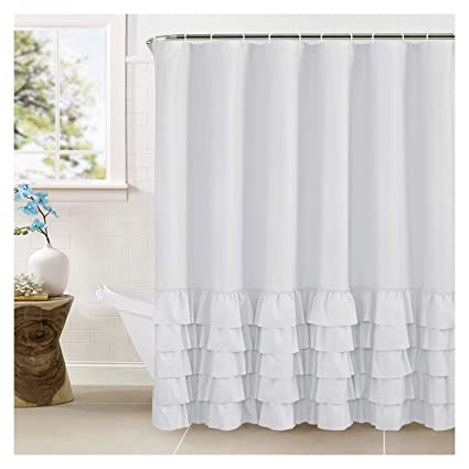 WestWeir Ruffle Layered Shower Curtain Fabric