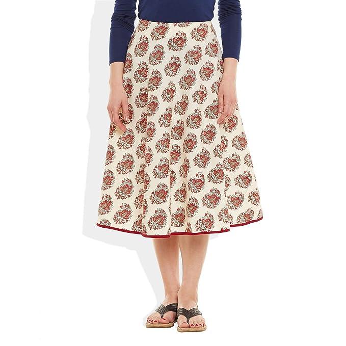 22cee4448b Womens Apparels Cotton Printed Medium Length Skirt A-Line, Medium,W-CMLSM