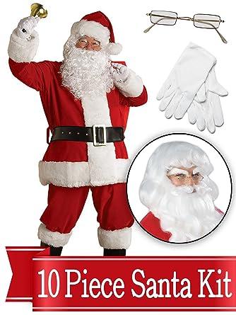 50cc713e35f97 Amazon.com  Santa Suit Complete Kit - Red Ultra Velvet Deluxe Complete 10  Piece Kit - Santa Costume Outfit  Clothing