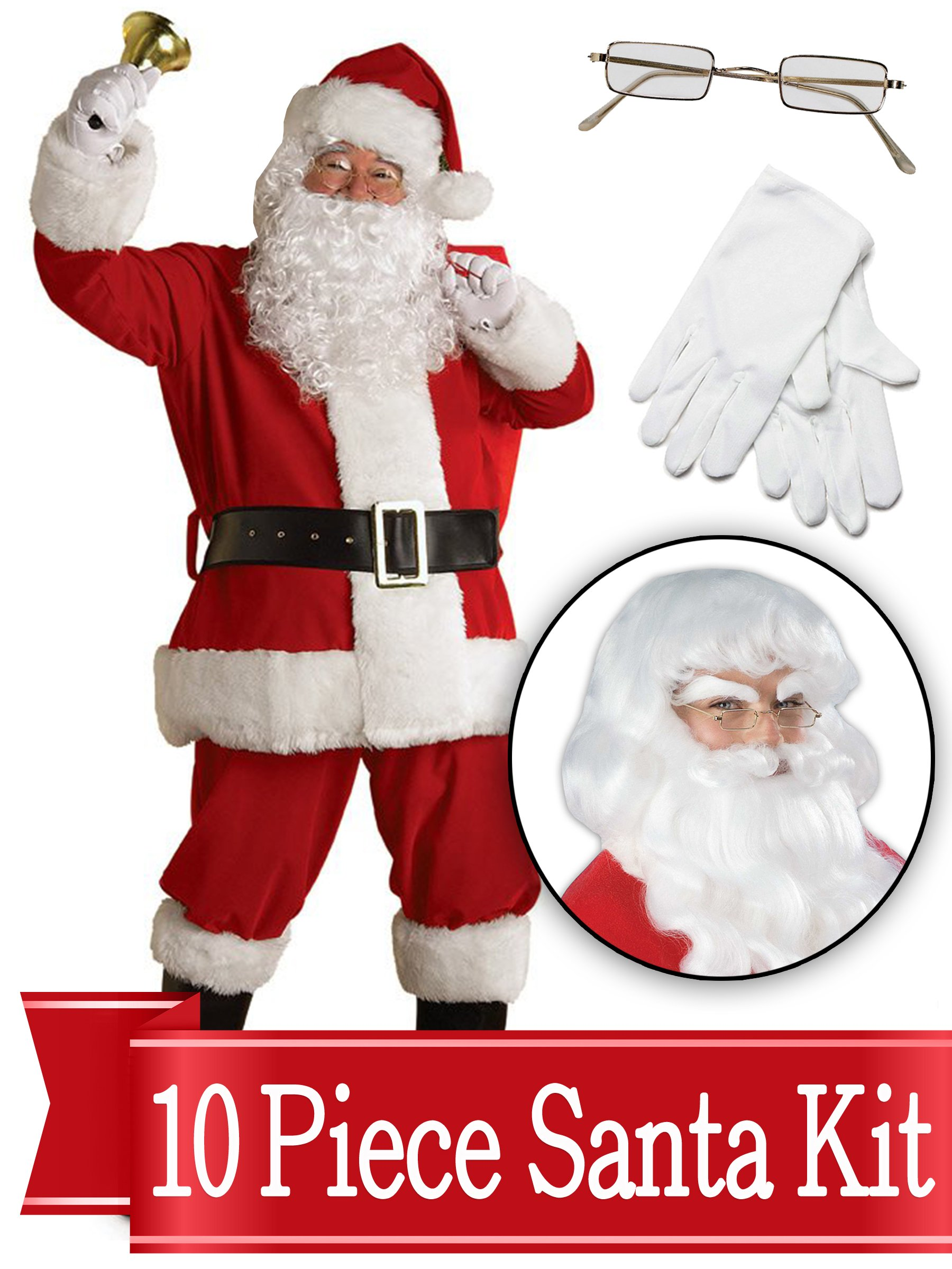 Santa Suit Complete Kit Red Ultra Velvet Deluxe Complete 10 Piece Kit - Santa Costume Outfit by BirthdayExpress
