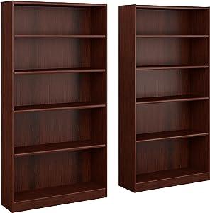 Universal 5 Shelf Bookcase Set of 2 in Vogue Cherry