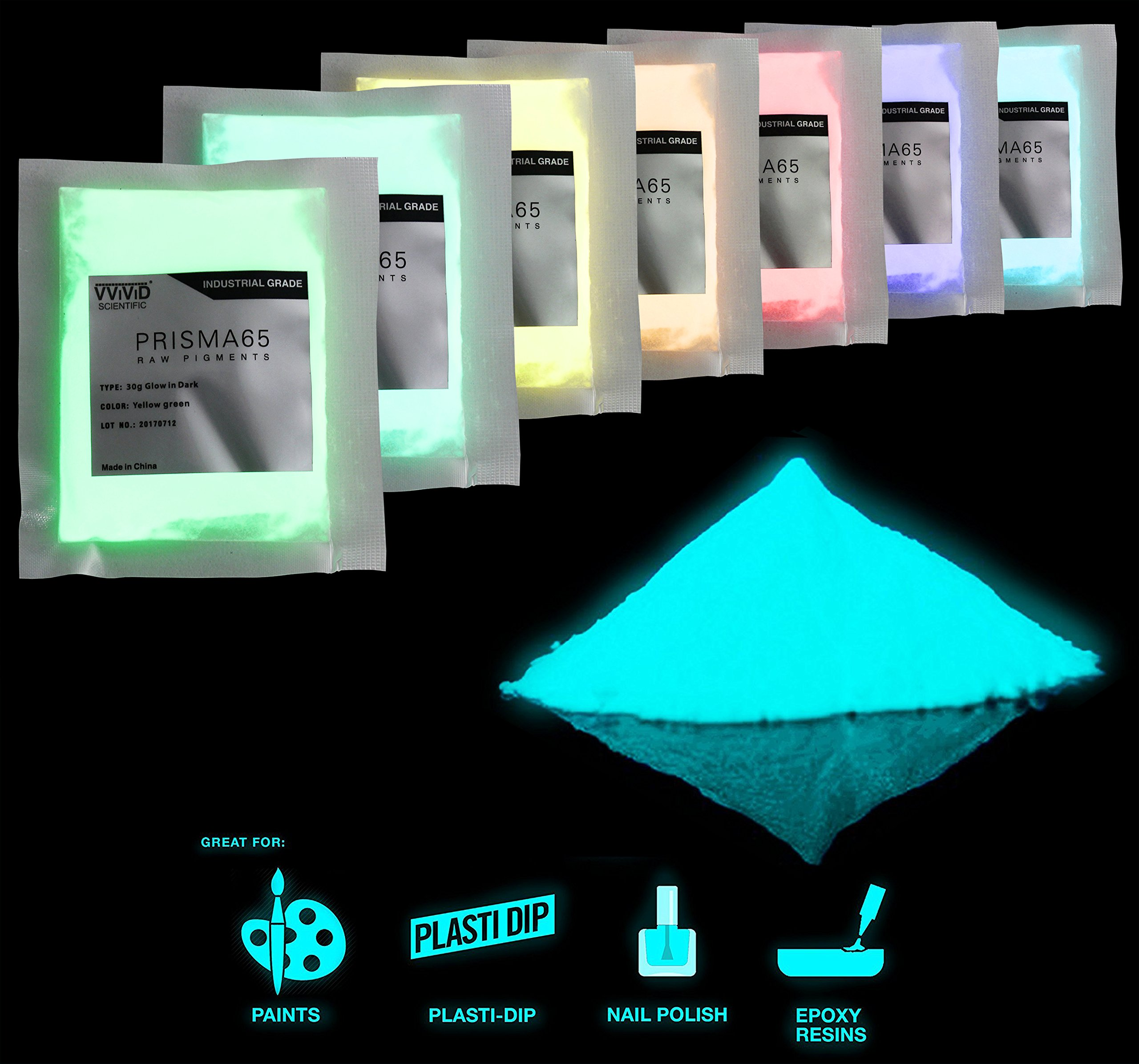 VViViD Prisma65 Glow in The Dark Pigment 30g Packet Multi Color Pack (7 Color Pack)