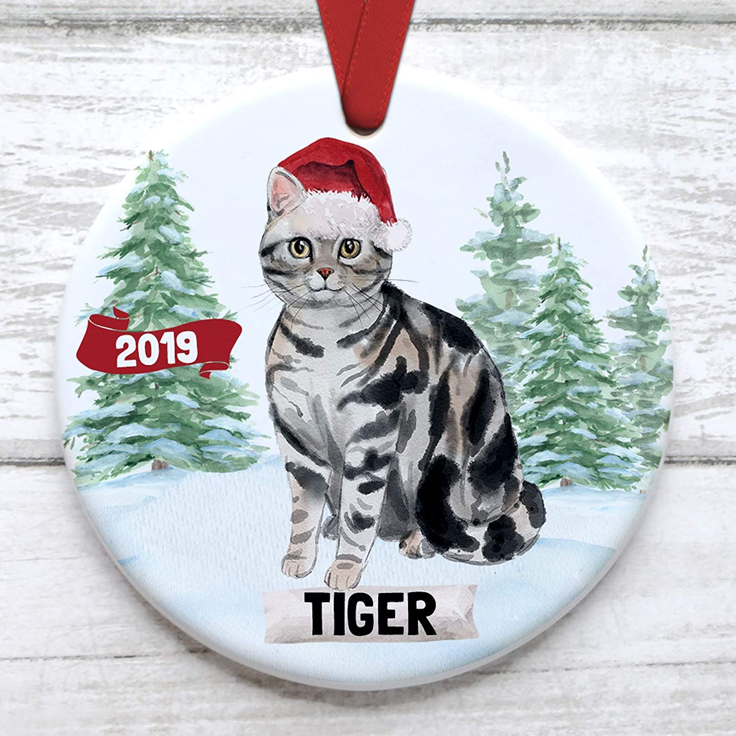 Personalized Pet Ornament Customized with Kittys Name Tabby Cat Christmas Tree Ornament Xmas Gift Wrapped