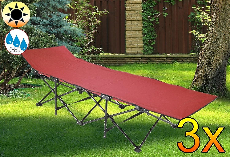 3x Feldbett, US Style Rot Dunkelrot, Robuste Liege Für Garten Und Strand,  Picknick Und Lagerfeuer, Sonnenliege,PREMIUM Relaxliege, Gartenliege Extrem  ...