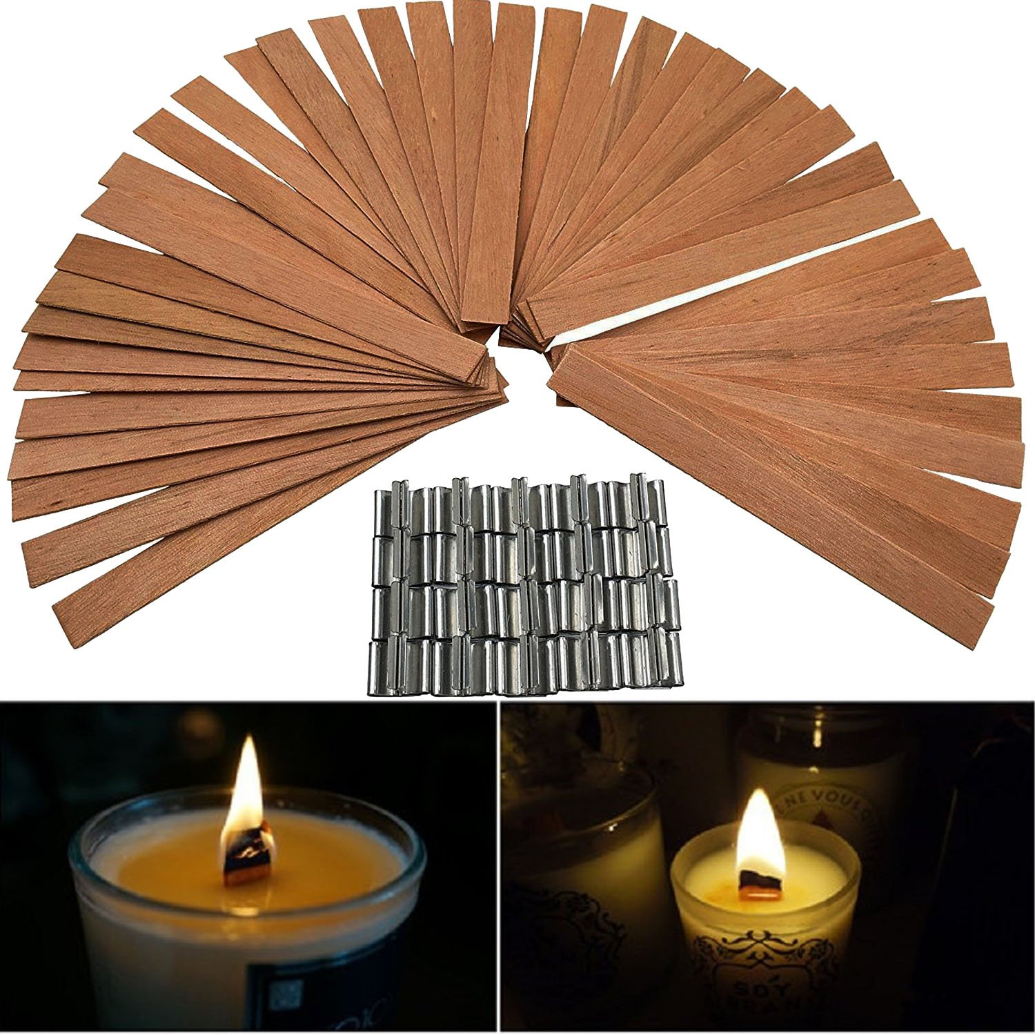 Valys 50 Piece 5 Wood Candle Wicks for Candle DIY Making, with metal anchors