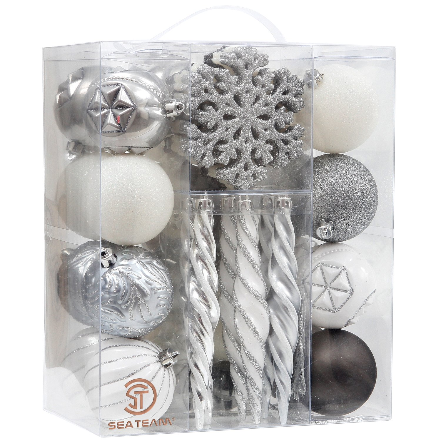 Sea Team 62-Pack Assorted Shatterproof Christmas Ball Ornaments Set Decorative Baubles Pendants with Reusable Hand-held Gift Package for Xmas Tree (Silver, White, Grey)