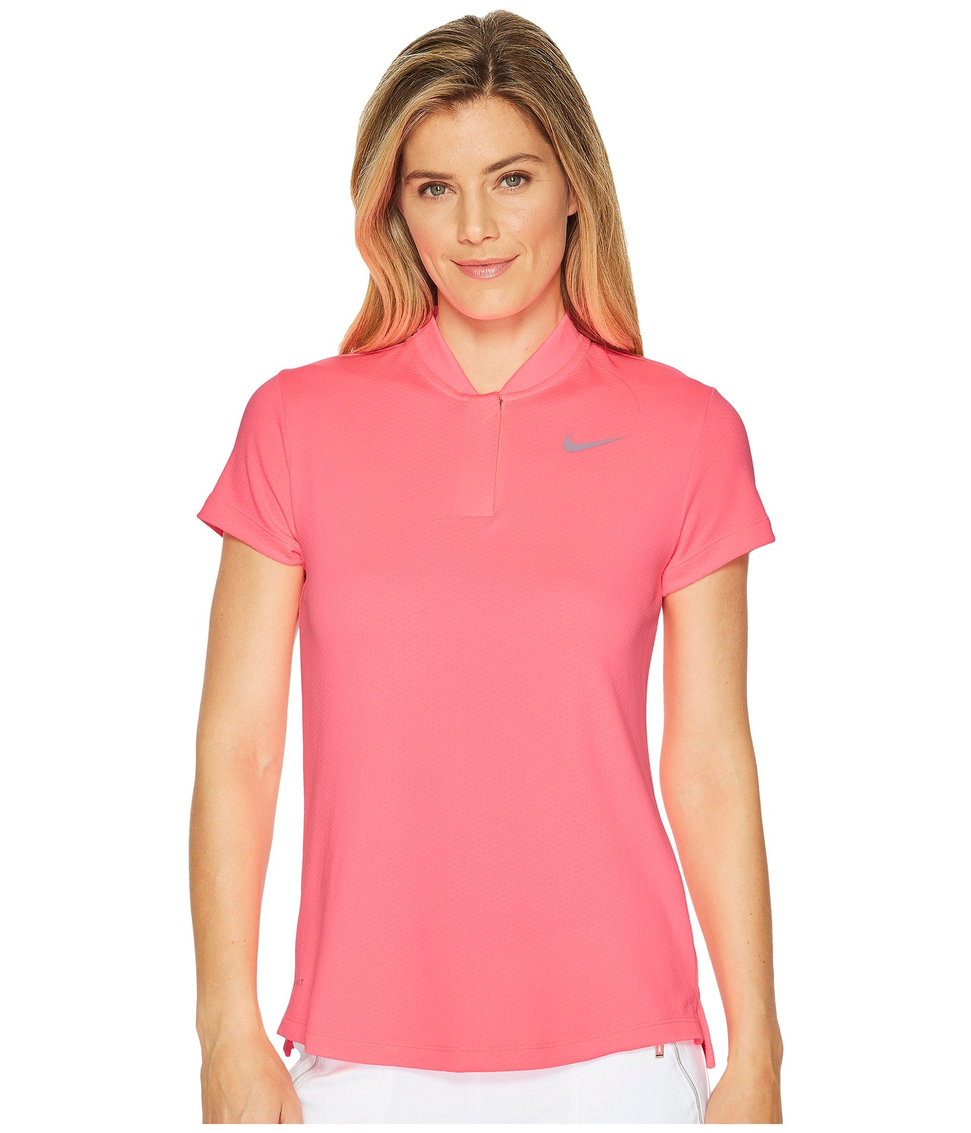 NIKE Women's Dry Short Sleeve Blade Golf Polo, Sunset Pulse/Flat Silver, X-Small