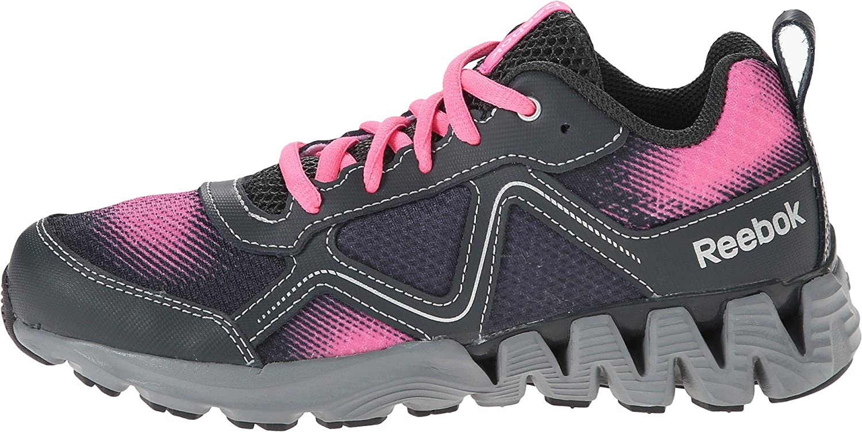 Reebok Small Kids Zigkick Wild Fashion Running Sneaker in Electro Pink Flat Grey Gravel Silver
