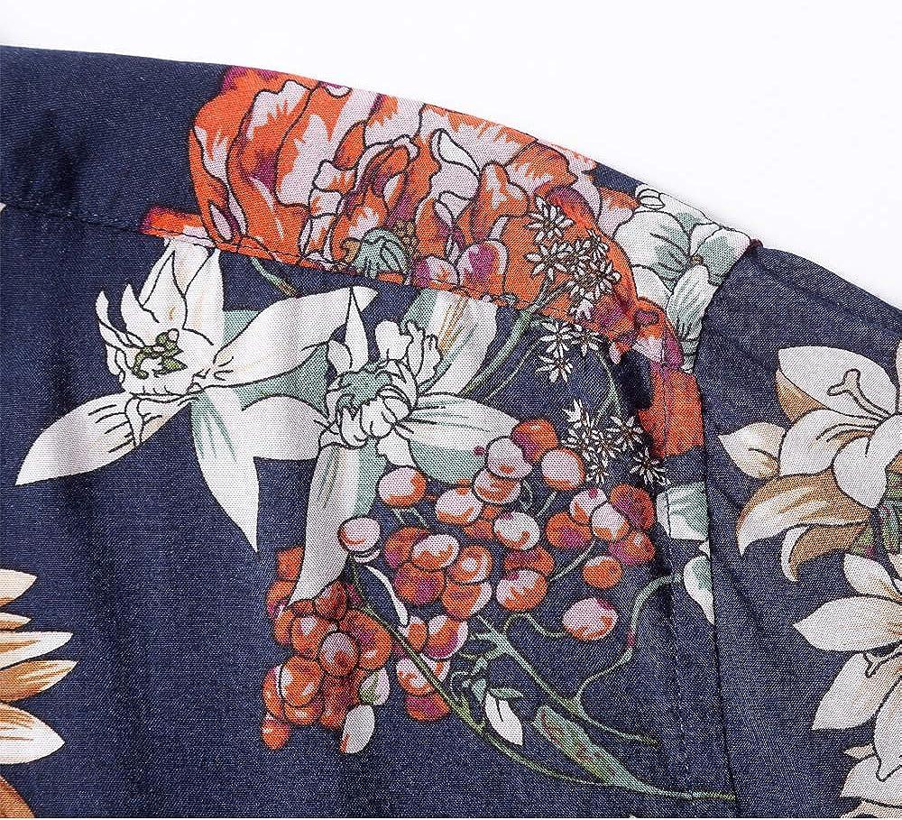 MCEDAR Mens Hawaiian Short Sleeve Shirt Aloha Flower Print Casual Button Down Beach Shirts