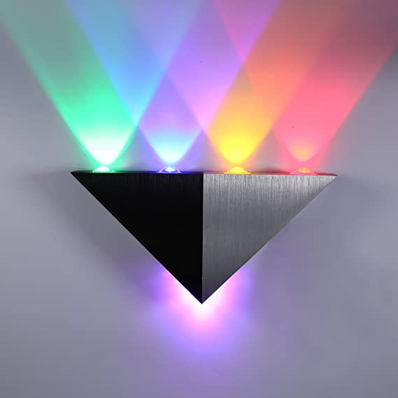 novamy Aluminium Triangle Shape LED Wall Lamp (Silver and Black) Wall Lamps & Sconces at amazon