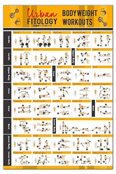Urban FitologyTM Bodyweight Workouts Poster For Men And Women 37 Exercises
