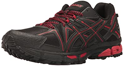 ASICS Men's Gel-Kahana 8 Running Shoe, Black/Classic Red/Phantom,