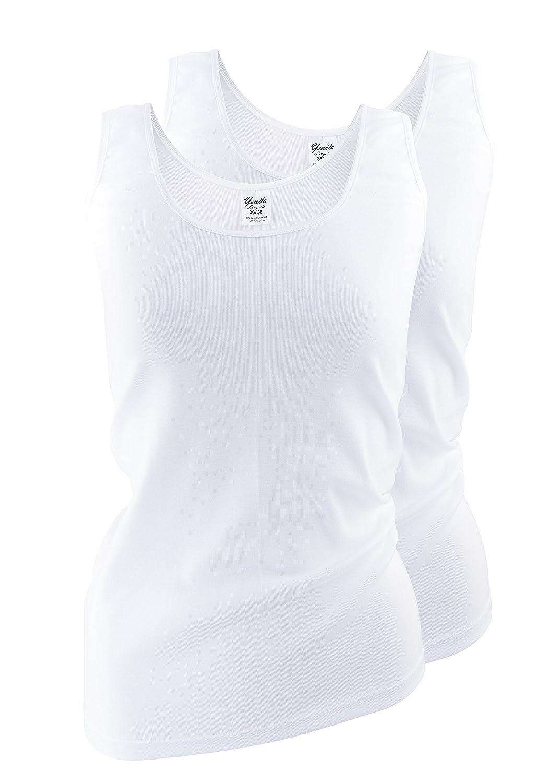 Yenita® 2 Stück Damen Unterhemden mit dezent glänzender Satinband-Einfassung, BW 5010_11
