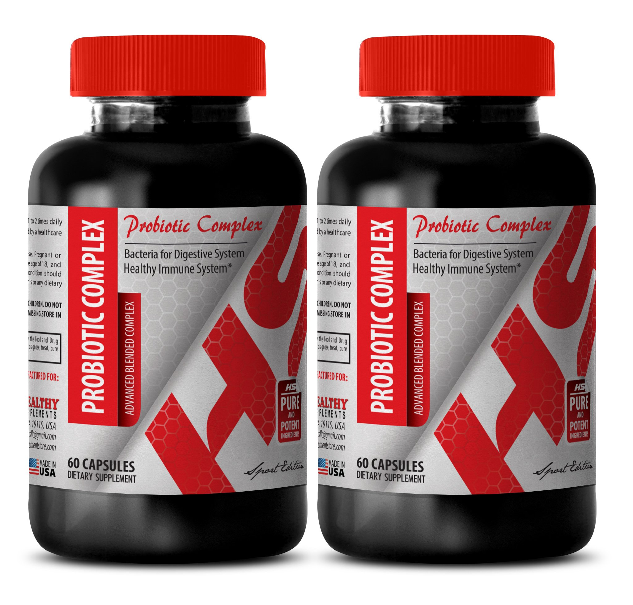 Probiotic with enzymes - PROBIOTIC COMPLEX ADVANCED BLENDED COMPLEX 550 MG - stimulate immune response (2 Bottles)