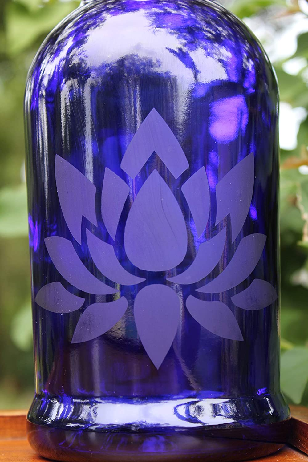 cc48ecb80a93 32oz. Lotus Flower Etched Cobalt Blue Glass Bottle With Swing-Top ...