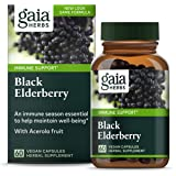 Gaia Herbs, Black Elderberry, Organic Sambucus Elderberry Extract for Daily Immune and Antioxidant Support, Vegan Powder Caps