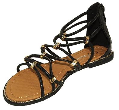 a4c3b7747b84a Forever Women s Cherish-37 Roman Style Strappy Back Zipper Flat Sandals  Black 7 (M