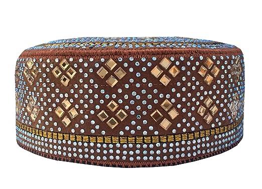 Men s Caps Koofi Kufi Solid Hat Handmade Stone Prayer Cap Size Fits 21-24  Inch 88fae28f31