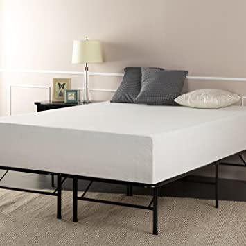 sleep master 12 inch pressure relief memory foam mattress and platform metal bed frame