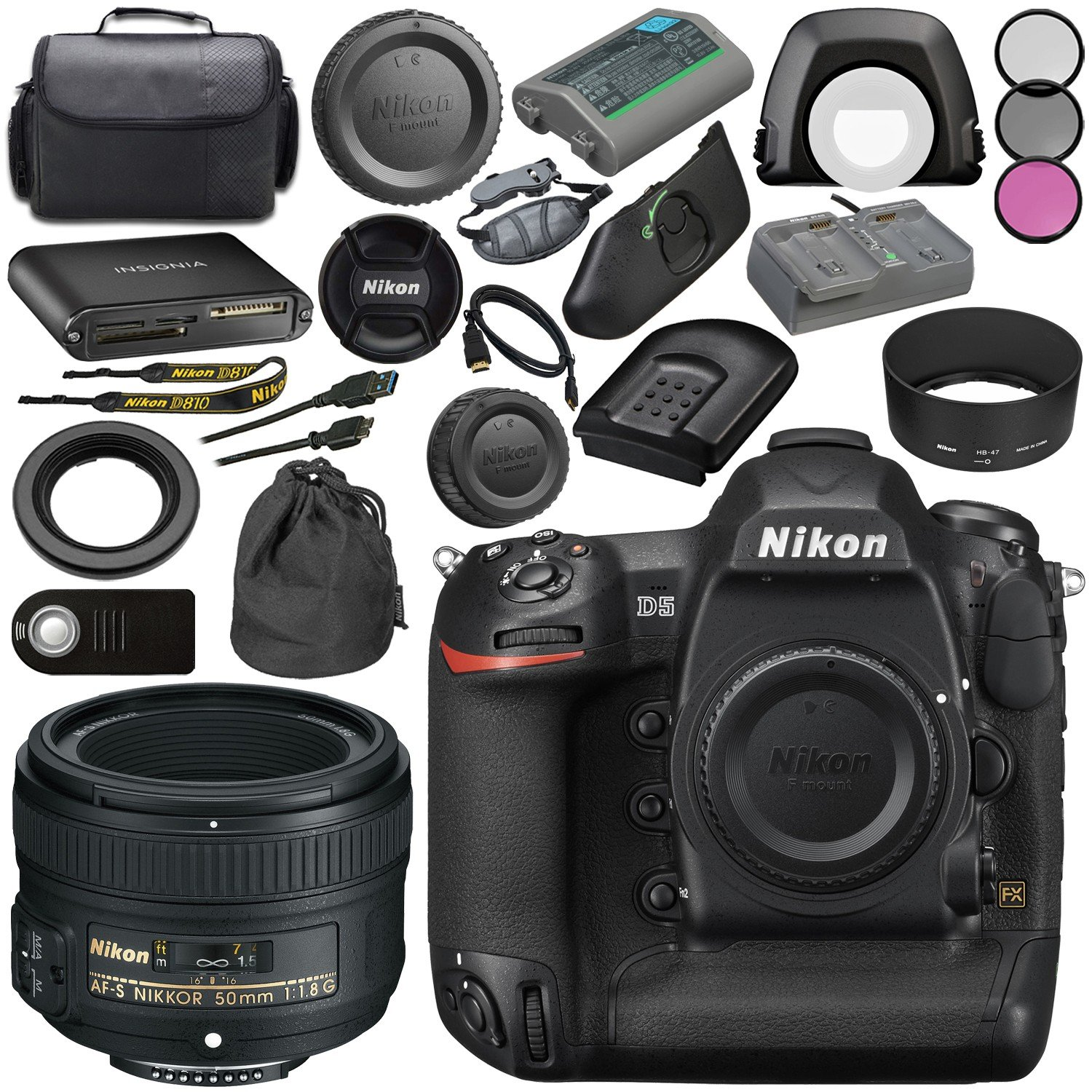 Nikon D5 DSLR Camera (Dual CF Slots) #1558 + Nikon AF-S 50mm f/1.8G Lens 2199 + 58mm 3 Piece Filter Kit + Mini HDMI Cable + Carrying Case + Multi Purpose USB card Reader + Hand Strap Bundle