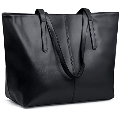 Jack&Chris Black Genuine Leather Designer Handbags Work Tote ...