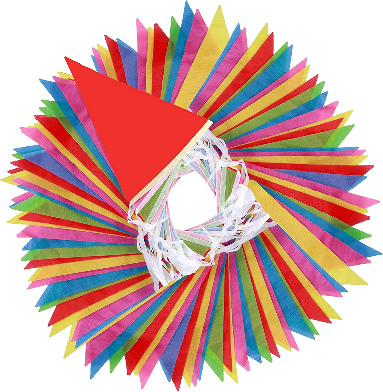 EDATOFLY 80m banderines de Bander/ín Multicolor Banderines Banners de Nylon con 150 Banderas de Tri/ángulo Grandes para Decoraciones de Celebraci/ón de la Fiesta de Cumplea/ños Festival