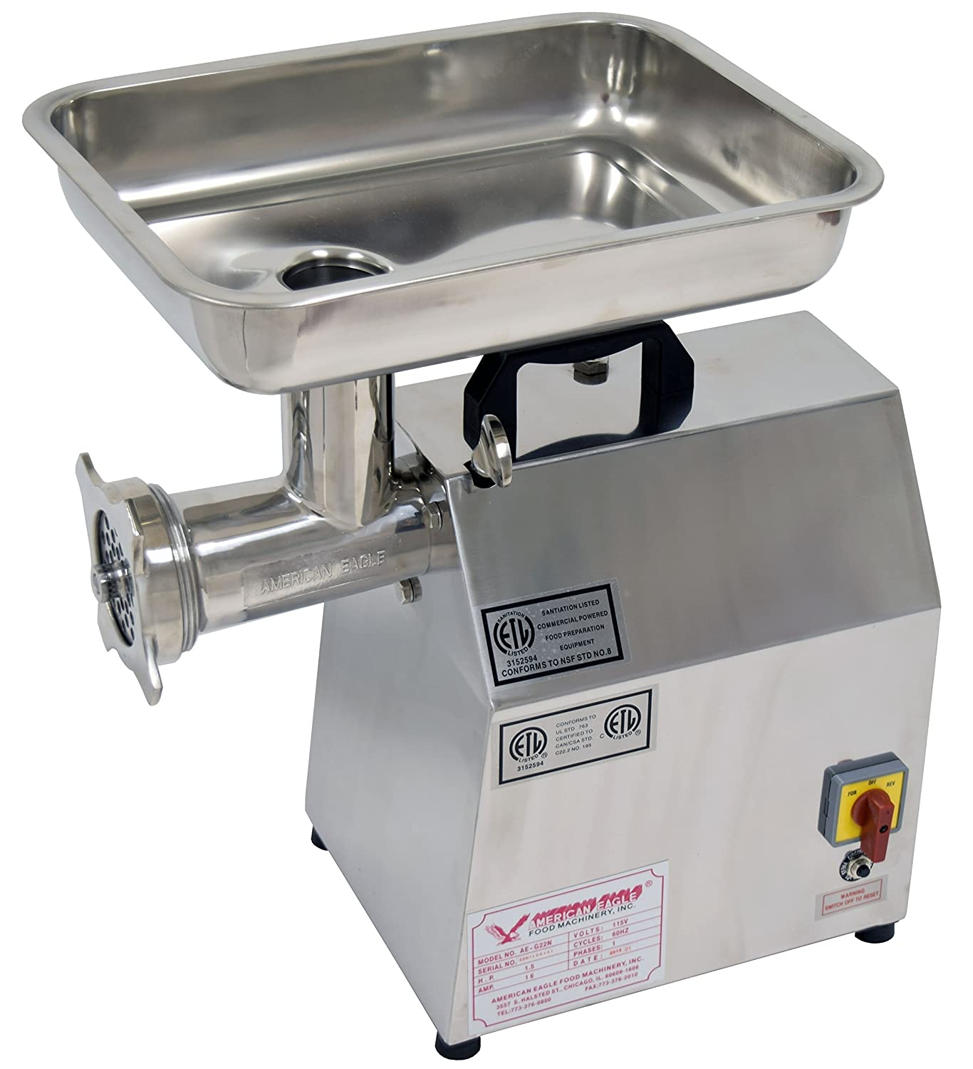 Image of Meat Grinders American Eagle AE-G22N Food Machinery 1.5HP #22 Commercial Stainless Steel Meat Grinder