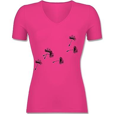 Statement Shirts - Pusteblume Löwenzahn Samen - Tailliertes T-Shirt mit  V-Ausschnitt für Frauen: Shirtracer: Amazon.de: Bekleidung
