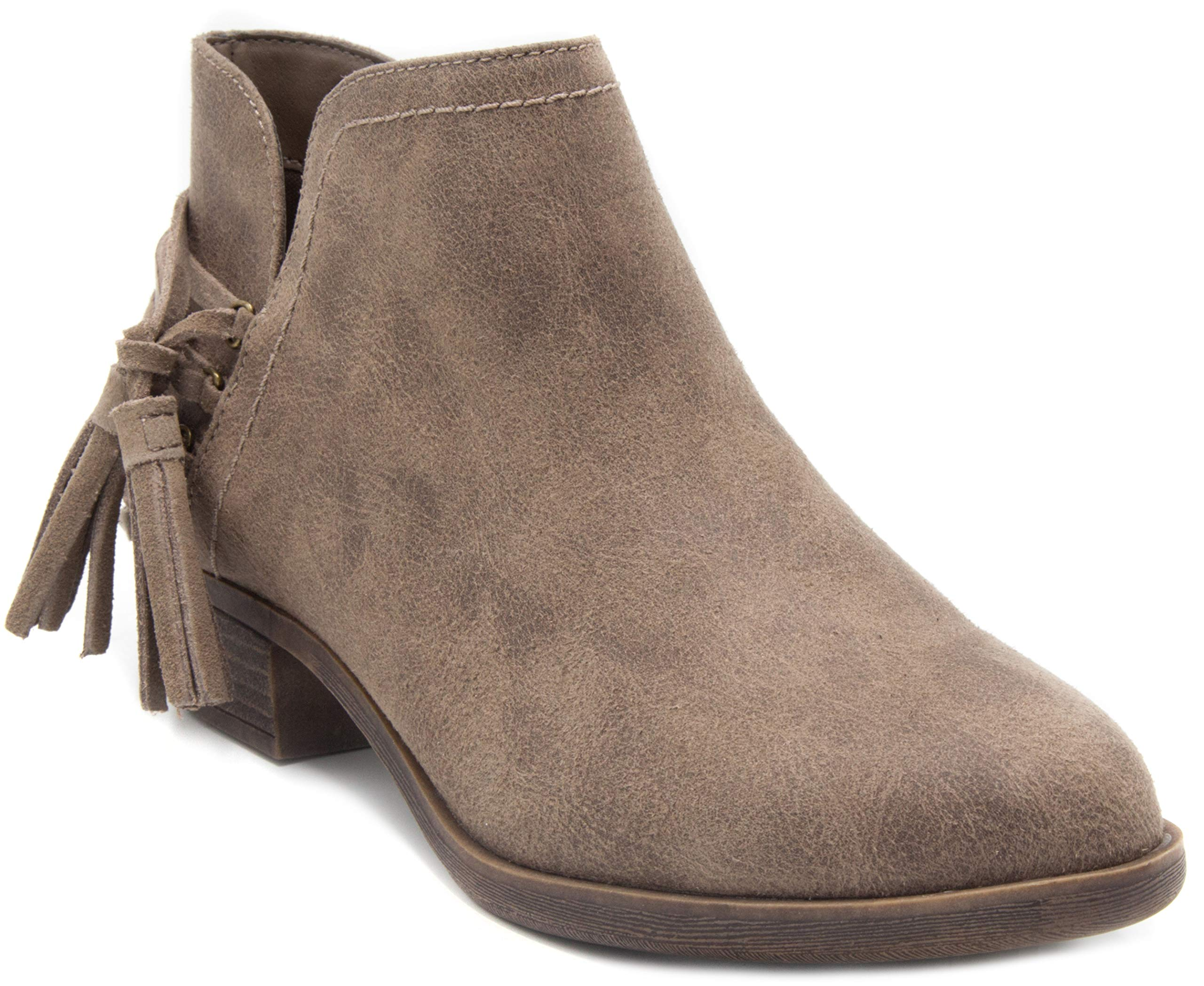Sugar Women's Trusted Block Heel Ankle Boot Strappy Ladies Bootie with Tassels Taupe 7