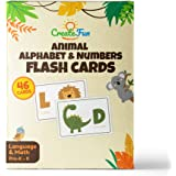 Animal 123 and ABC Flash Cards for Babies, Toddlers, Pre-K and Kindergarten Children | Complete Alphabet in Uppercase and Lowercase With Numbers For Toddler Learning | 46 Extra Thick Flashcards