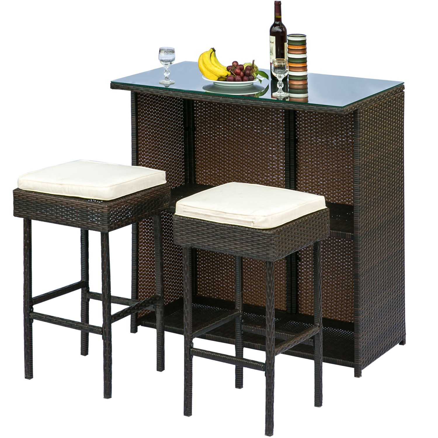 Leisure Zone 3 Piece Outdoor Patio Rattan Bar Set with Cushion Garden Barstool Furniture Set
