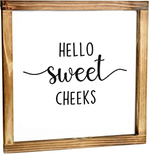 Hello Sweet Cheeks - Funny Farmhouse Decor Sign, Cute Guest Bathroom Decor Wall Art, Rustic Home Decor, Modern Farmhouse Sign for Bathroom Wall with Funny Quotes 12x12 Inch