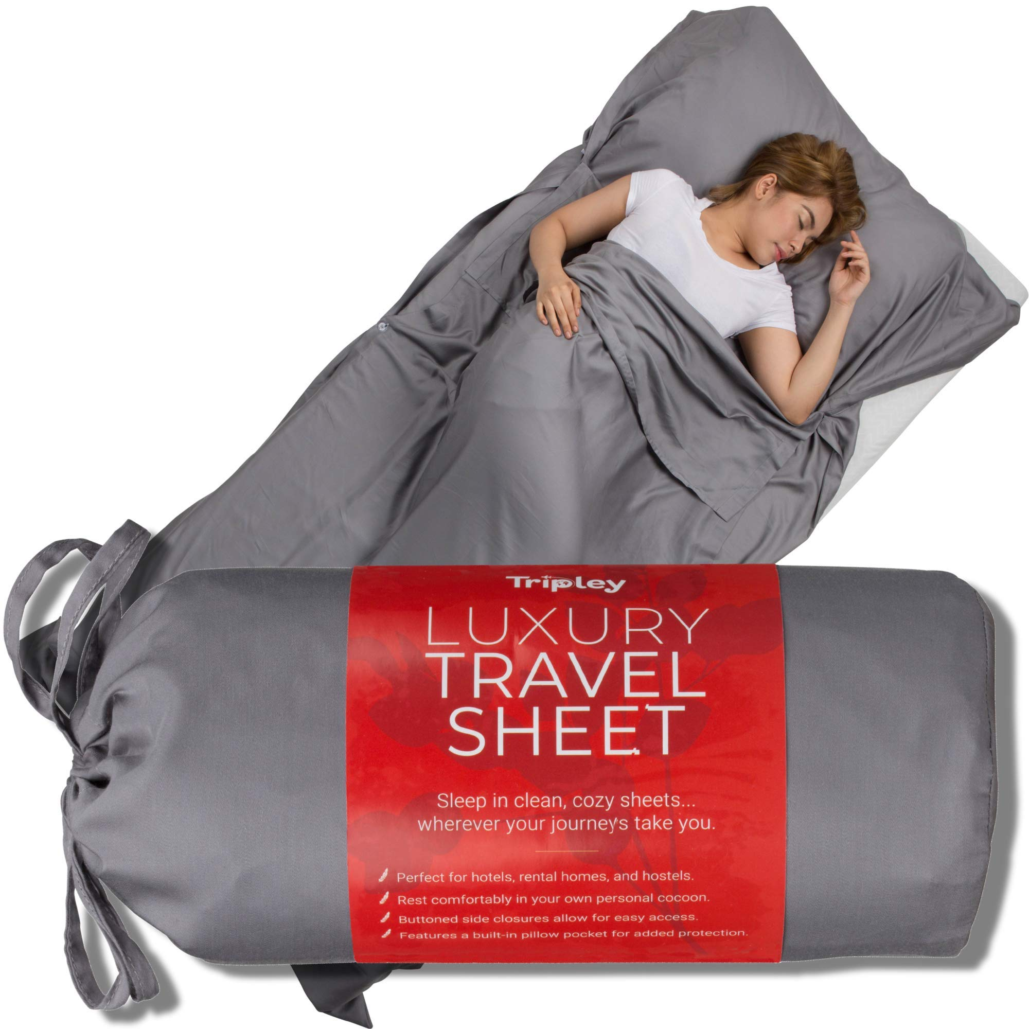 Tripley Travel Sheet, Ultra Soft 100% Tencel Sleeping Bag Liner for Hotels/Camping, Made from Luxuriously Soft Natural Plant-Based Tencel Lyocell Fibers, Satin Weave by Tripley