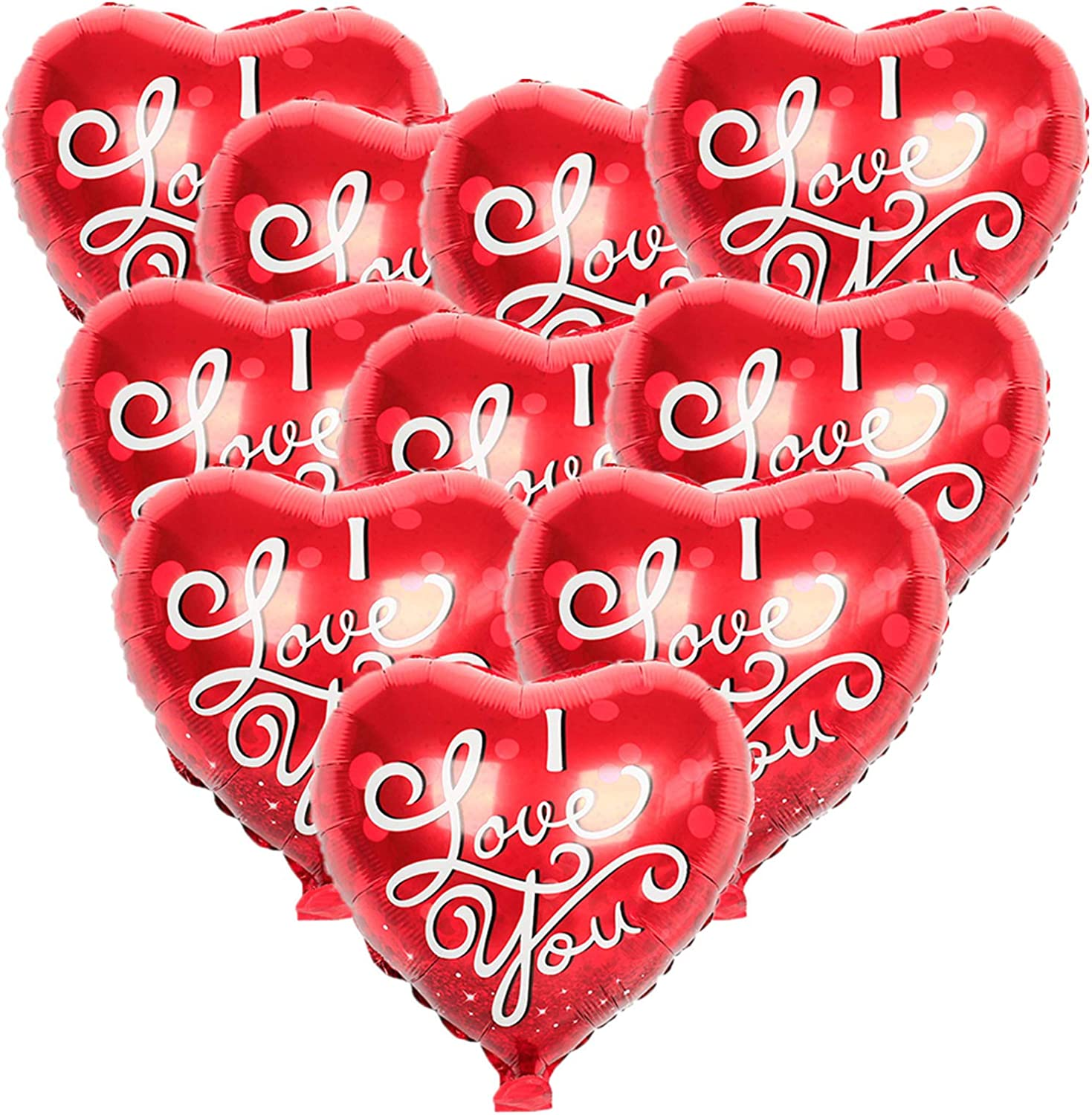 VWMYQ Valentine's Day Balloons Heart Balloons I Love You Foil Balloons For Valentines Day Wedding Engagement Party Decor 10 Pcs