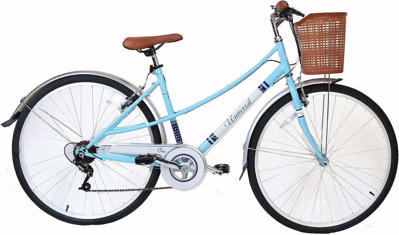 Bicicleta 700c para mujer, bicicleta híbrida retro con cesta y 6 ...
