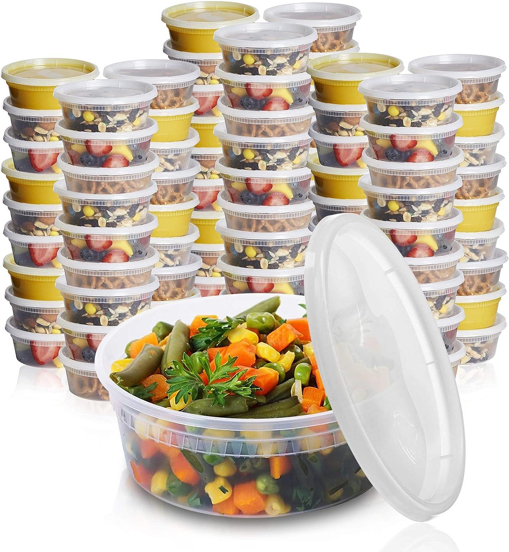 [24 Sets - 8 oz.] Plastic Deli Food Storage Freezer Containers With Airtight Lids Plastic Deli Containers with Lids, Slime, Soup, BPA Free Stackable Leakproof Microwave/Dishwasher/Freezer Safe