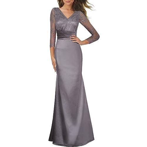 HOMEYEE Womens Elegant V-Neck Lace Sleeve Mesh Hemline Evening Prom Charming Long Dress A019