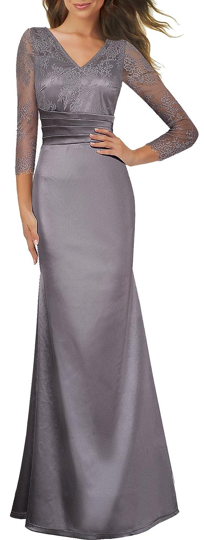 Vestido largo y elegante para mujer, con cuello de pico y dobladillo, vestido con manga larga de encaje transparente, con encanto, de Homeyee A019 Gris gris ...
